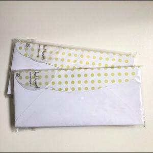 4/$25 Gartner Envelopes Polka Dot White Green